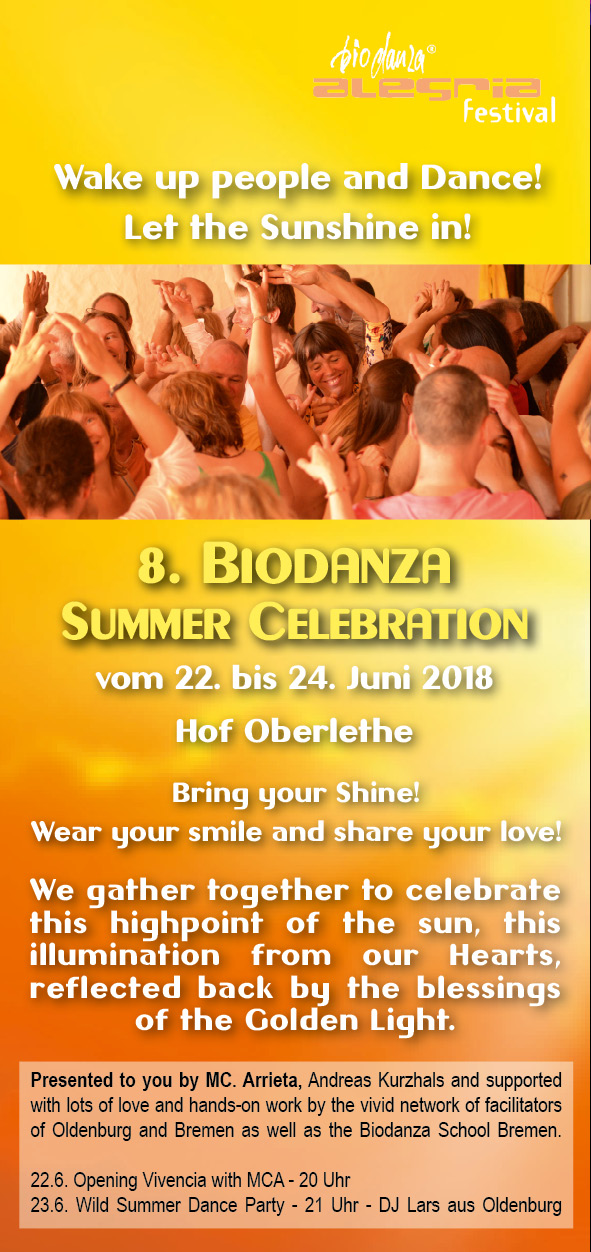 Frontseite Flyer Biodanza Summer Celebration 22. - 24. Juni 2018