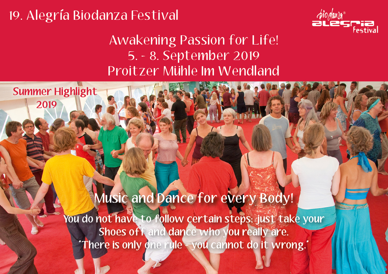 Flyer 19. Alegria Biodanza Festival Wendland frontside