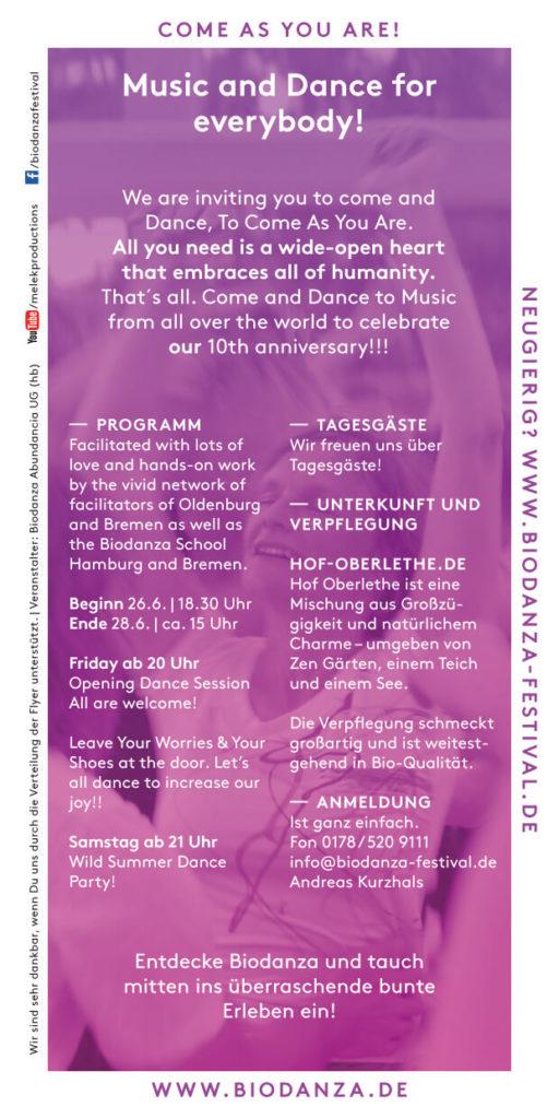 Biodanza Summer Celebration Flyer 2020
